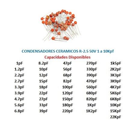 Condensador Ceramico R 5 50v 1 A 10kpf